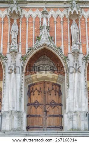 Gothic entrance to the St Joseph church in Krakow - stock photo