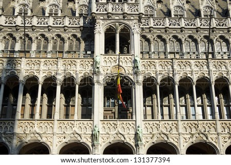 Gothic facade in Brussels - stock photo