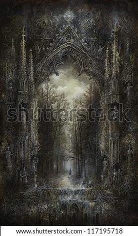 Gothic Fantasy, acrylic on paper - stock photo