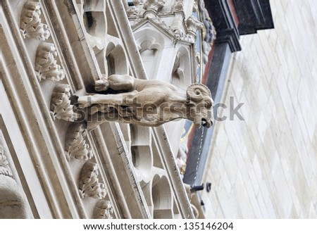 Gothic gargoyle of a goat in St. Jean Cathedral in Lyon - stock photo