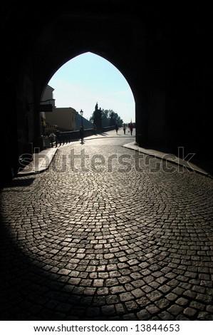 Gothic Gate of Bridge Tower, Charles Bridge, Prague, Czech republic - stock photo