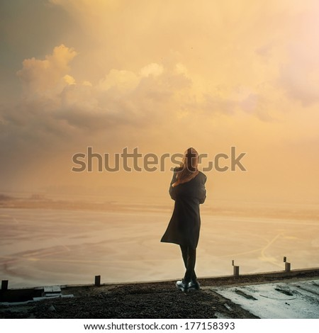 Gothic girl and sunset Photo