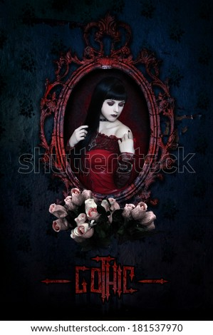 Gothic girl in red corset and roses. Collage. - stock photo