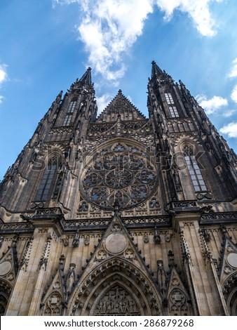 Gothic Metropolitan Cathedral of Saints Vitus, Wenceslaus and Adalbert, Prague Castle, Czech Republic - stock photo