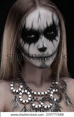 Gothic model white-faced building a grimace - stock photo