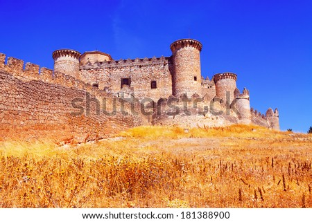 Gothic-Mudejar castle in Belmonte.  Cuenca, Spain - stock photo