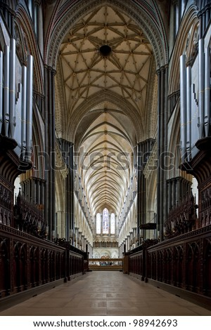 Gothic nave of the beautiful Salisbury Cathedral in England