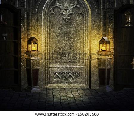 Gothic Palace Interior Background - stock photo
