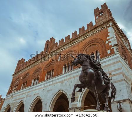 Gothic Palace. Piacenza. Emilia-Romagna. Italy. - stock photo