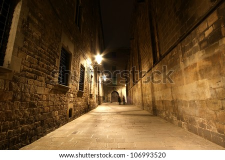 Gothic quarter at night. Empty alleyways in Barcelona - stock photo