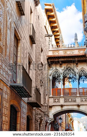 Gothic Quarter in the heart of Barcelona.Catalonia.Spain.