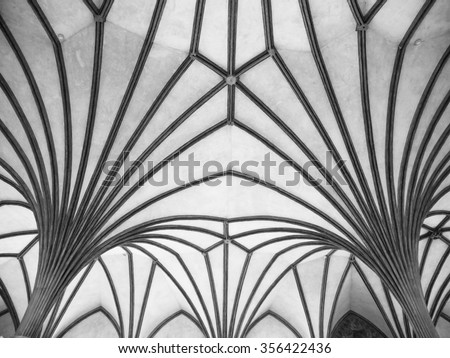 Gothic Rib Vault Ceiling Architectural Feature Detail Black And White Image
