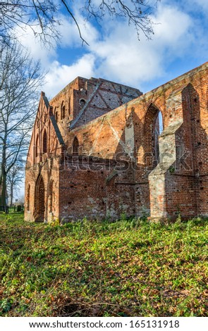 Gothic ruins of the Church, destroyed by fire, located on Zulawy, Poland - stock photo
