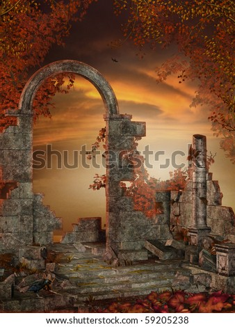 Gothic ruins with red autumnal vines