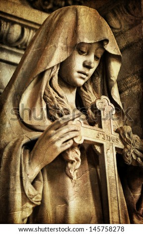 gothic sad sculpture  - stock photo