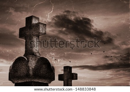 Gothic scenery : Graveyard with moody sky                               - stock photo