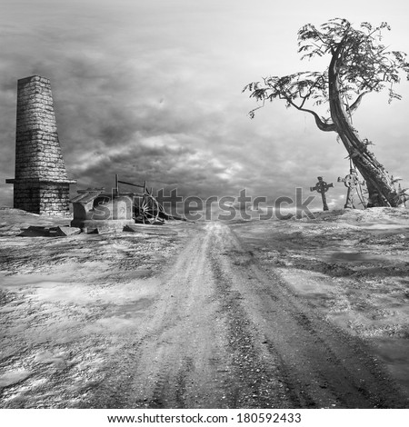 Gothic scenery with a tree, ruins and stone crosses