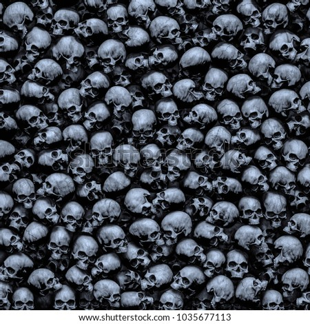 Gothic skulls background / 3D illustration of dark grungy human skulls piled closely together