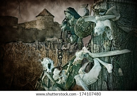 Gothic skulls of animals on a tree near the old fortress, halloween - stock photo