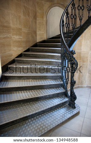 Gothic staircase with metal steps - stock photo