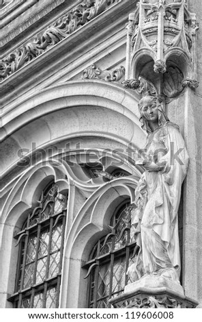 Gothic statue from facade of St. Michael and St. Gudula in Brussels black and white