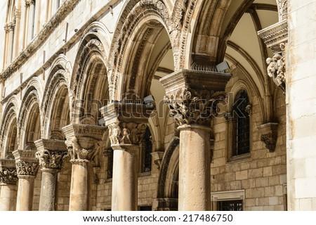 Gothic Stone Pillars - stock photo