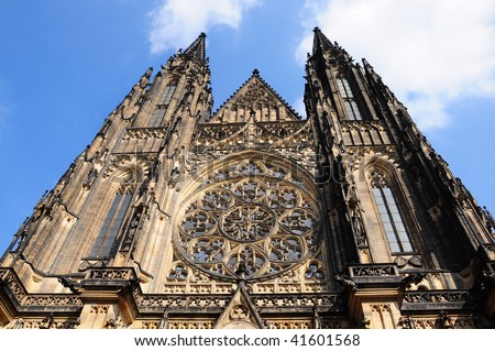Gothic Style cathedral in Prague (Praha)