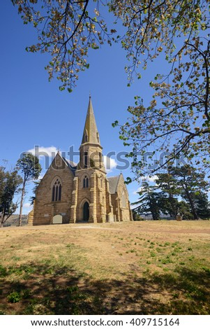 Gothic style stone church in Ross, Tasmania - stock photo