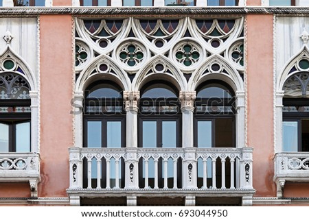 Gothic Style Windows At Old Building In Venice