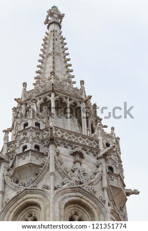 Gothic tower detail of Mathias church in Budapest - stock photo