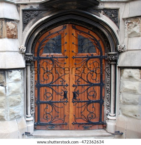 Gothic Wooden Door & Gothic Church Door Elaborate Ironwork Stock Photo 42844180 ... Pezcame.Com