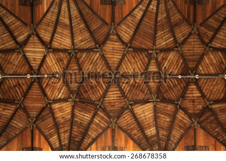 Gothic wooden vaulted ceiling in the Grote Kerk (Great Church) on the Grote Markt in Haarlem, North Holland, Netherlands.  - stock photo