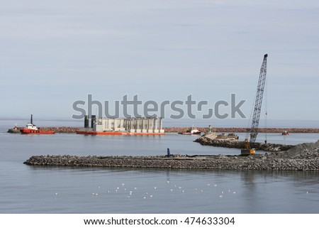 Gotland, Sweden. August 28th 2016. Carrier 16 delivery foundation for a new cruise ship pier at the city of Visby in Sweden