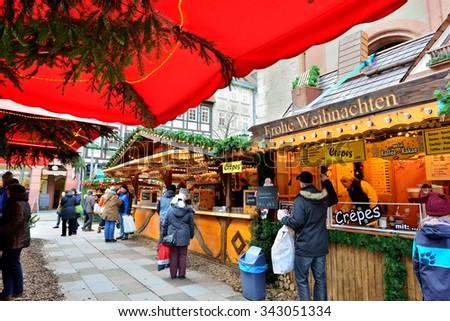 GOTTINGEN, GERMANY-DECEMBER 27, 2014: Christmas market in Gottingen - stock photo