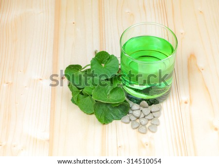 Gotu Kola or Centella Asiatica Medicinal Herb with  glass - stock photo