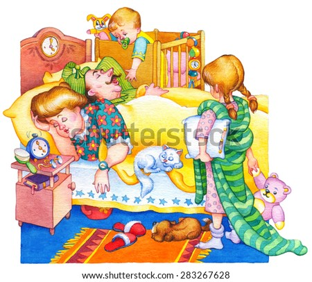 Gouache bright picture in retro style isolated on white. Cute funny domestic scene in cozy room. Young kids want to wake up peacefully asleep parents and pets under blanket in morn. Dog lay on mat - stock photo