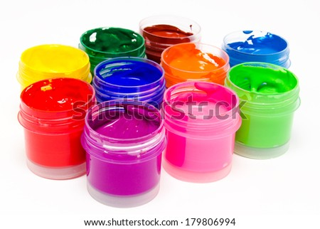 Gouache paint isolated on a white background - stock photo