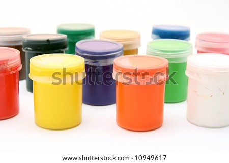Gouache paint isolated on white background