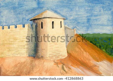 Gouache painting of a sunlit castle on a hill against green horizon and cloudy sky.