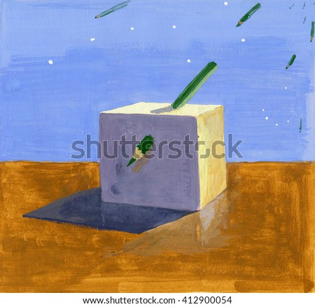 Gouache painting of a sunlit cube pierced with green pencil against blue sky and same falling things.