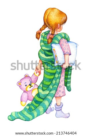 Gouache picture in style of book illustration isolated on white background. Girl with pigtails in pink nightgown with warm striped blanket over shoulders and soft teddy in hand, intends to go to bed - stock photo