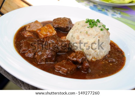 goulash with dumplings - stock photo