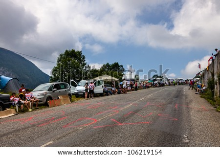 GOURETTE,FRANCE-JUL 15:Image of the road to Col d'Aubisque few minutes before the peloton will arrive during the 13th stage of Le Tour de France on July 15 2011.