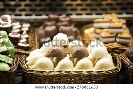 Gourmet assorted sweets on the market - stock photo