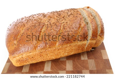 Gourmet Baked Bread with Seeded Crust on isolated background - stock photo