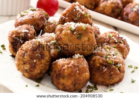 Gourmet beef meat balls in the plate  - stock photo