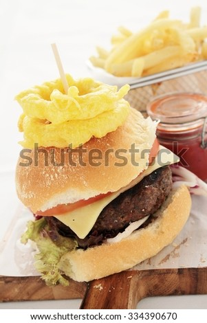 gourmet burger plated meal