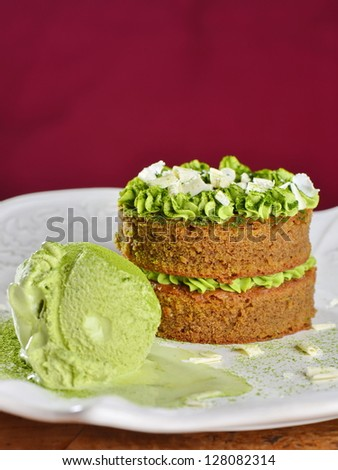 Gourmet cake and ice cream with Japanese green tea Matcha and white chocolate - stock photo