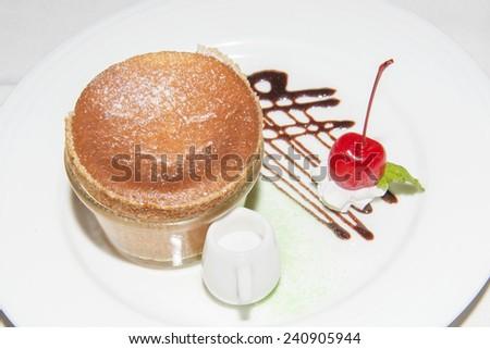 Gourmet cheese souffle - stock photo