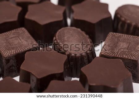 gourmet chocolate bonbons background  - stock photo